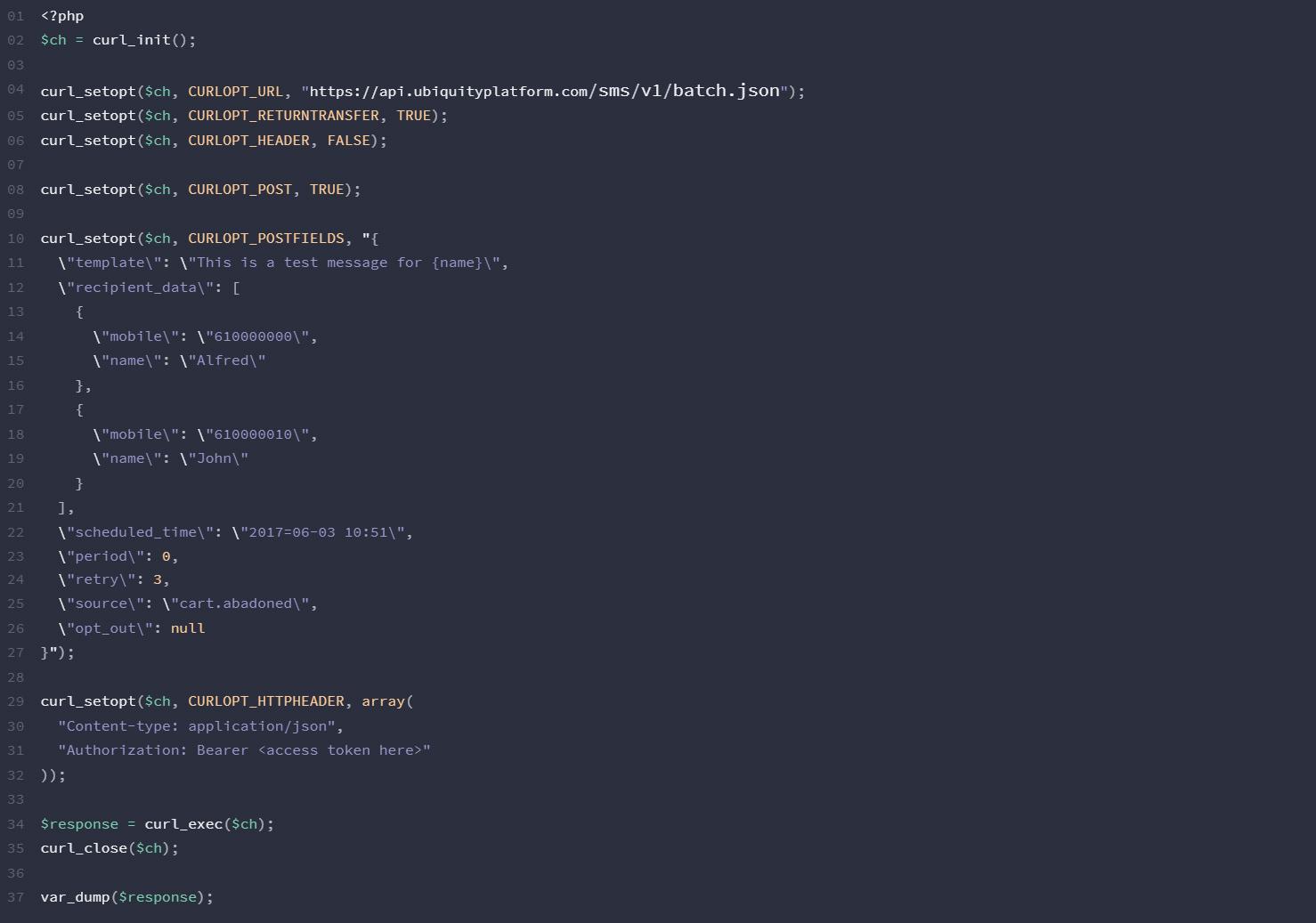 PHP-SMS-API-Ubiquity-Platform-Gomeeki