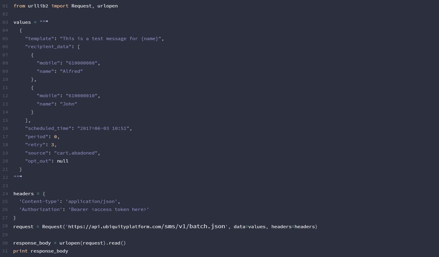 Python-SMS-API-Ubiquity-Platform-Gomeeki